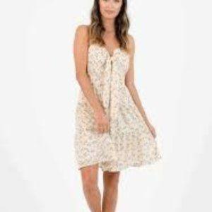 NWOT Lucca Hampton Tiered Tan Mini Floral Dress